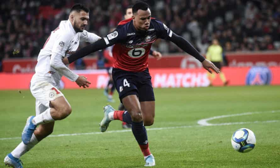 Lille's Gabriel Magalhães (right) has impressed this season and Arsenal believe they are close to signing him.