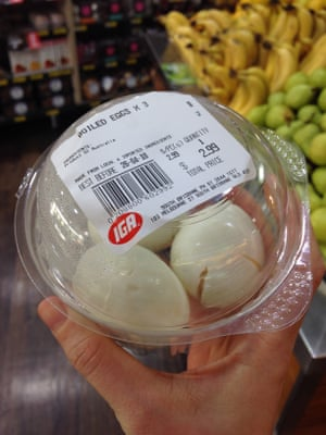 Pre-peeled hard boiled eggs sold at IGA in South Brisbane