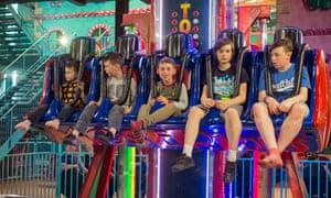 Trauma Towers ride at Woodlands Family Theme Park, Totnes, Devon , England, United Kingdom