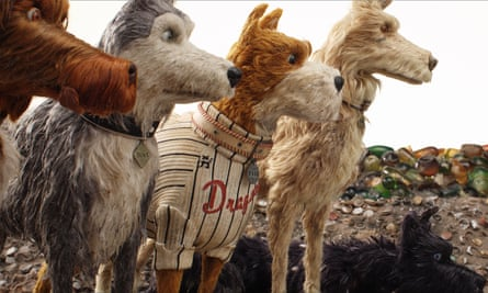 King, Duke, Boss and Rex (voiced by Bob Balaban, Jeff Goldblum, Bill Murray and Edward Norton) in Isle of Dogs.