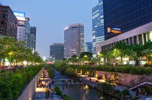The revived Cheonggyecheon stream in central Seoul