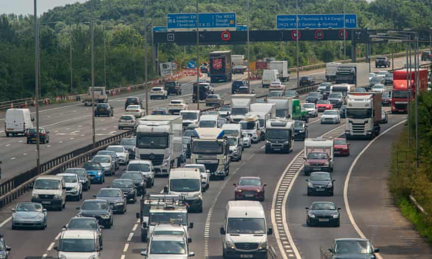 road traffic on a busy motorway with several lanes