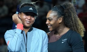 Serena Williams congratulates Naomi Osaka after her victory in the US Open final, during which the American had clashed with the umpire and referee