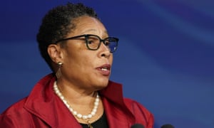 In this 11 Dec 2020 photo, Ohio representative Marcia Fudge speaks during an event at The Queen theater in Wilmington, Delaware