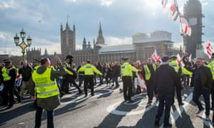 Yellow vest protesters on Westminster Bridge