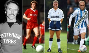 Kettering Town's Derek Dougan in 1976, Kenny Dalglish in Liverpool's Hitachi kit, Paul Gascoigne in 1990 and Alex Pritchard in Huddersfield's fake kit.