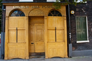 The front door of the Whitechapel Bell Foundry on Whitechapel Road.