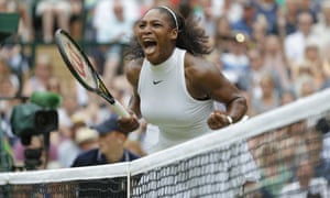 Serena Williams celebrates winning the first set.