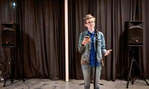 Kai Gyorgi, 16, performs at the open mic event.