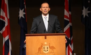 Australian prime minister Tony Abbott delivers the 2015 Magna Carta lecture in the Great Hall of Parliament House in Canberra.