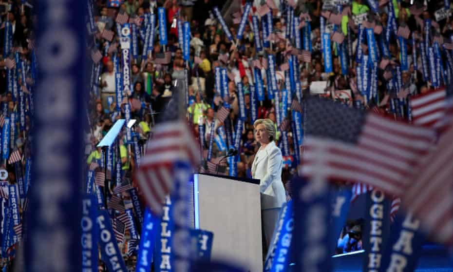 Democratic nominee Clinton speaks at the National Convention in Philadelphia, 2016.