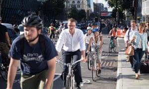 Cyclists on a cycle superhighway near Blackfriars bridge.