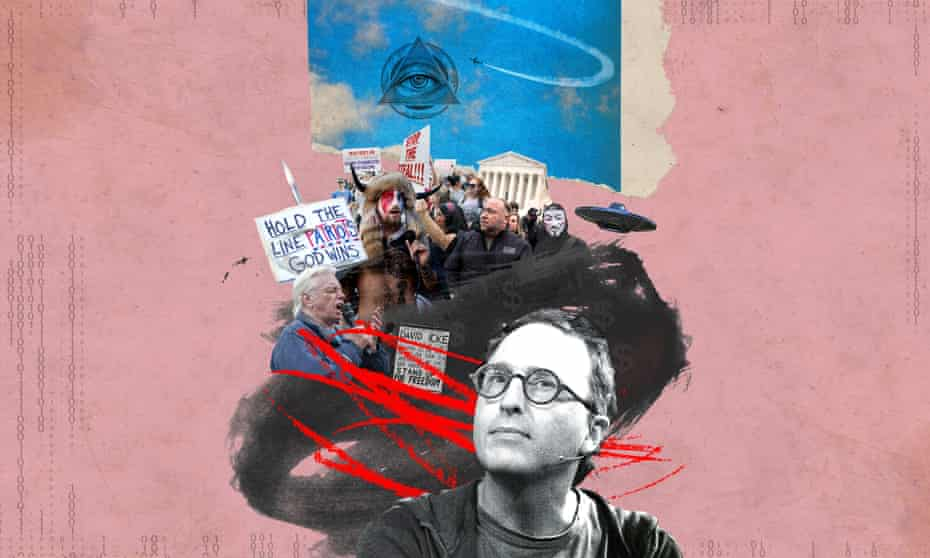 A photo montage/ illustration of Jon Ronson and a trail of conspiracy theorists behind him