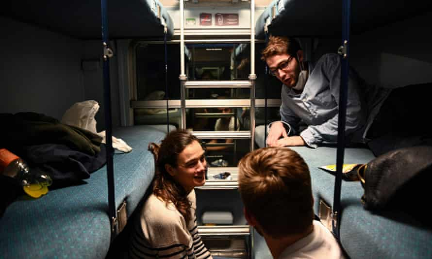 Passengers in a sleeper car of the Paris-Nice night train, which returned to service in May.