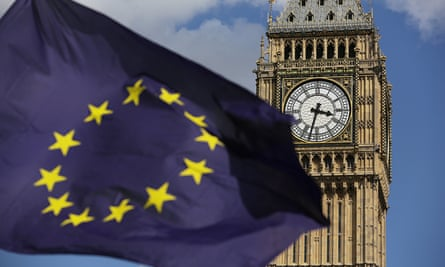 European Union flag in front of Elizabeth Tower in Westminster,