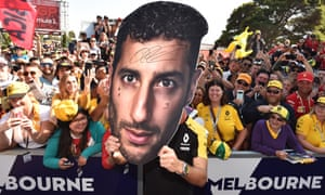 Australian fans getting behind home favourite Daniel Ricciardo before the grand prix.