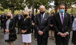 Joe and Jill Biden attend the 9/11 service with Governor Andrew Cuomo, right, at the National September 11 memorial and museum in New York City.