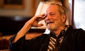 Terry Gilliam speaks with reporters in Cairo, Egypt, on 22 November 2019.