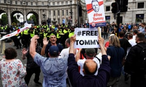 "A ""free Tommy Robinson"" protest on Whitehall in June."