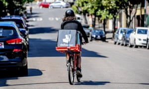 Bike couriers at companies such as Deliveroo are employed as independent contractors, meaning they are not paid the award minimum rate of $25.81 per hour they would be entitled to if classed as employees.