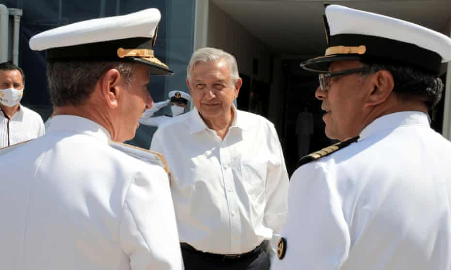 President Amlo marks Navy Day, in Veracruz, Mexico, on 1 June. Critics accuse the president of militarising the country.