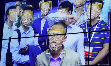 facial recognition technology screen analysing people's faces