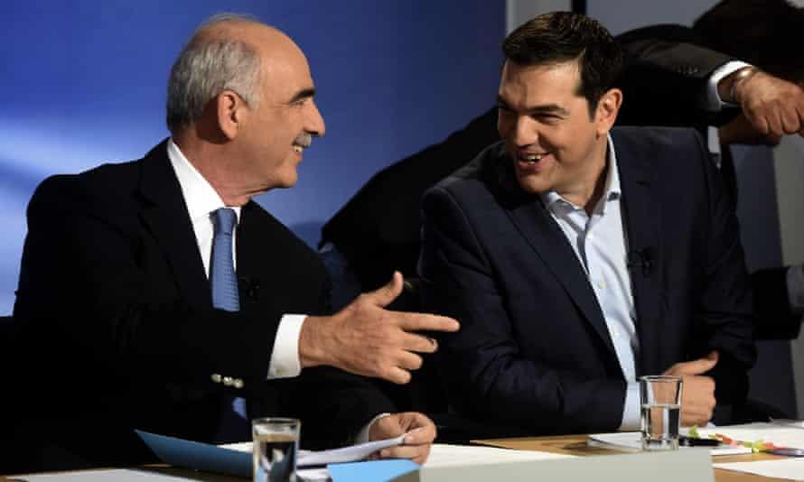 Vangelis Meimarakis and Alexis Tsipras before televised election debate
