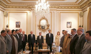Dignitaries attend the ceremony to mark the reopening of Iran's London embassy
