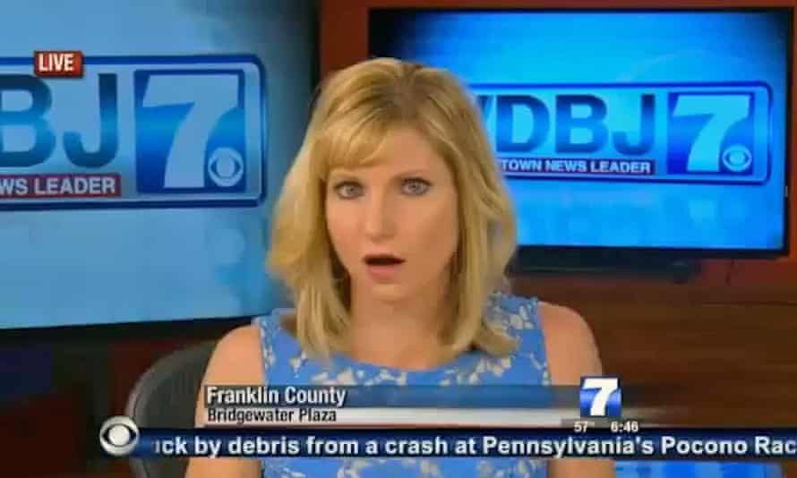 The WDBJ anchor reacts to the shooting.