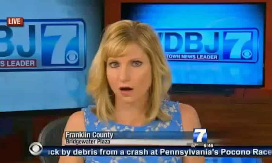 A still showing the moment the news anchor hears shooting live on air of Alison Parker and Adam Ward on WDBJ tv channel.