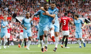 Manchester City's Nolito, right, celebrates with goalscore Kelechi Iheanacho after he scored City's second.