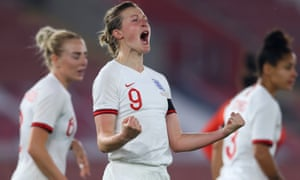 Ellen White of England celebrates after scoring their side's fourth goal from the penalty spot.