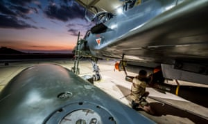 A French Mirage 2000 fighter prepares to take off for an airstrike on Raqqa.
