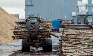 Logs being unloaded
