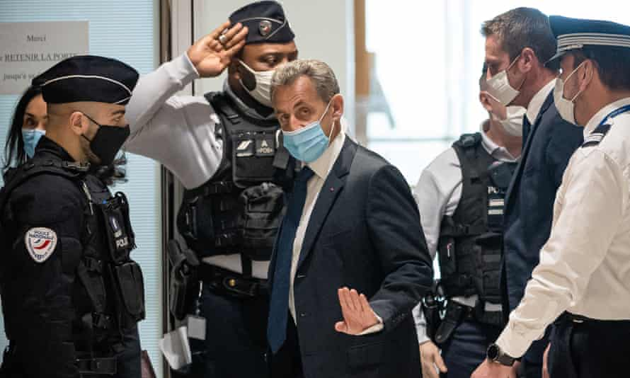 Former French president Nicolas Sarkozy arriving at court in Paris, 1 March 2021