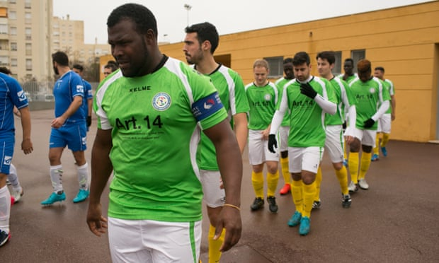 The Alma de Africa football team formed of migrants in Jerez de la Frontera, Spain