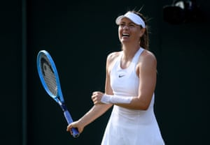 Maria Sharapova looks pained during her match against Pauline Parmentier.