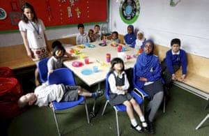Irena Chmura teaches children in the Salusbury World class