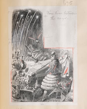 Fine, fluid lines dominated the Dalziels' style. Here, a pencilled note requests 'Fine lines between the rays' in keeping with a fashion for ultra-fine engravings with lines only visible under magnification. The critic John Ruskin viewed this as indicative of the degeneracy of modern art (complaining that 'for one line that Holbein lays, Tenniel has a dozen'). Draughtsmen used hard 4H pencils to achieve the desired delicacy; Tenniel went further, using 6H pencils. Engravers worked with magnification to execute such intricate work, often working day and night and damaging their sight.