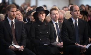 Prince Harry and the Duke and Duchess of Cambridge attended the service.