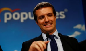 People's party (PP) candidate Pablo Casado speaks in Madrid after the counting of the votes.