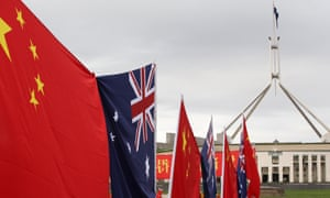 Chinese and Australian flags outside Parliament House