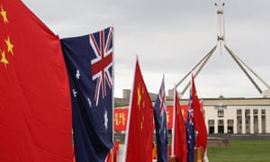 Chinese flags outside Australia's Parliament House