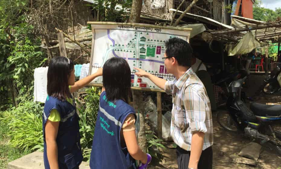Dengue map displayed for community workers tackling the spread of the disease in Myanmar