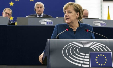 Angela Merkel delivers her speech at the European parliament in Strasbourg.