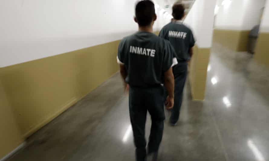 Detainees at Otay Mesa detention center in 2017. The Ice facility did not follow its own guidelines for responding to the pandemic, a report found.