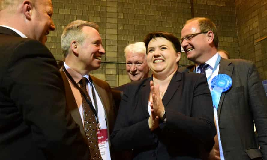 Edinburgh Local Elections CountEDINBURGH, SCOTLAND - MAY 05: Scottish Conservative leader Ruth Davidson celebrates with candidates and party members at the local election count in Edinburgh as her party makes big gains across Scotland, on May 5, 2017 in Edinburgh, Scotland. Local government elections were held on Thursday, May 4, 2017, in all 32 Scottish local authorities and many other parts of the United Kingdom. (Photo by Ken Jack - Corbis/Corbis via Getty Images)