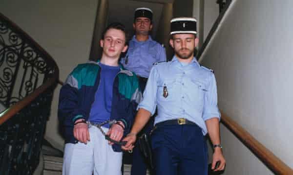Jean-Marie Villemin in police custody during his trial for the murder of Bernard Laroche.
