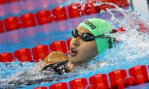 Gaurika Singh in her 100m backstroke heat at Rio 2016