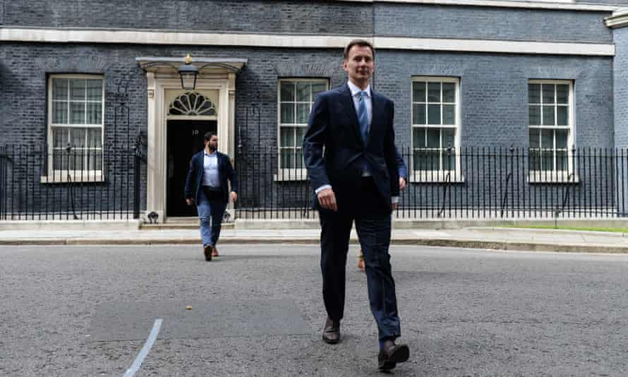 Jeremy Hunt leaves Downing Street after a meeting to discuss the deepening Iran crisis.